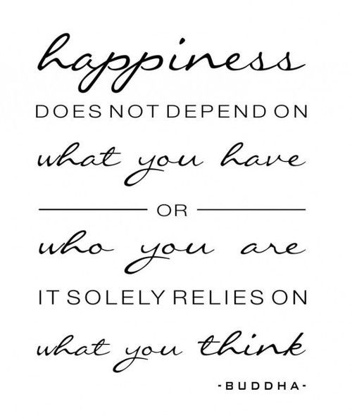 """Happiness does not depend on what you have or who you are, it solely relies on what you think.""  ~ Buddha"