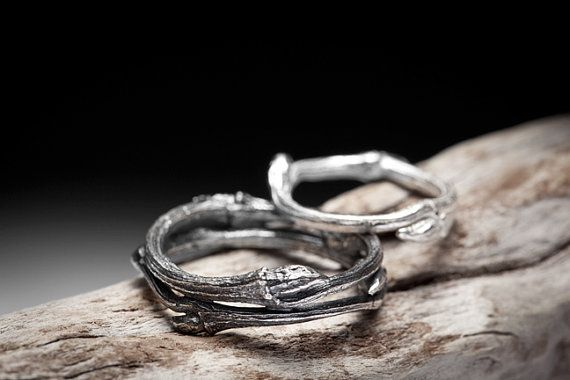 twig wedding bands sterling silver rings  Elvish You by redsofa - elvish wedding bands.... So gorgeous!