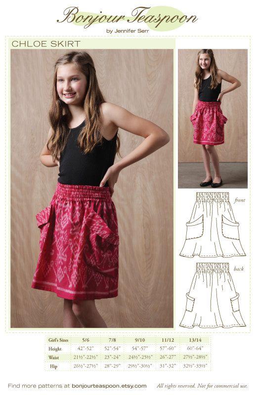 Chloe Skirt Sewing Pattern sized for Kids Thru by bonjourteaspoon, $10.00