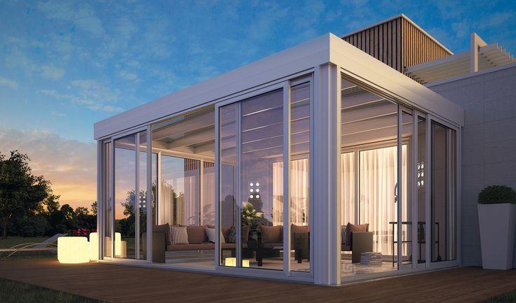 veranda moderna Arredamento giardino d'inverno, Giardino