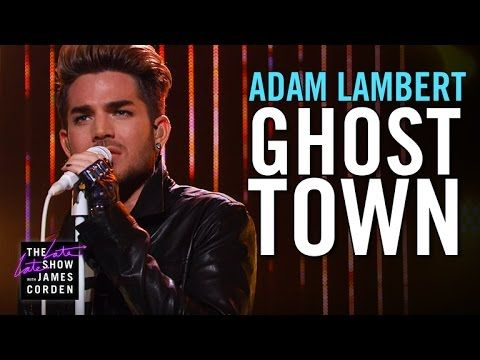 "Adam Lambert performing his hit single ""Ghost Town"" live on the Late Late Show with James Corden 7/15/15"