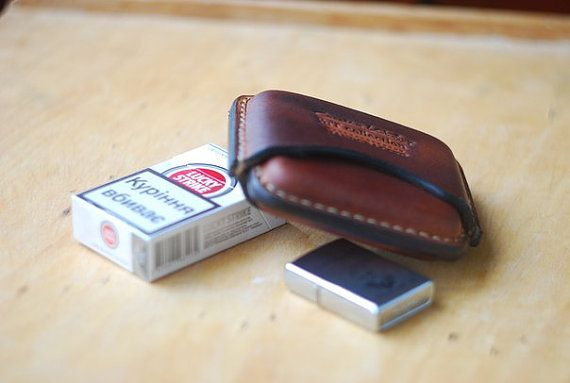 Leather cigarette case cigarette holder Gifts by ArtLeatherDesign