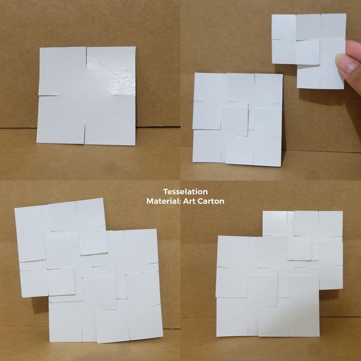 Kertas dengan bentuk geometri sederhana persegi dipotong setiap sisinya sebagai joint antar modul. Saat digabungkan dengan cara disisipkan satu sama lain modul akan beririsan 2 kali lipat dari panjang pola potongan. Dalam pembuatan model ini material berbahan kaku dibutuhkan agar joint tidak mudah terlepas dan modul modul yang digabungkan dapat membentuk sesuatu yang baru dari geometris sederhana persegi.