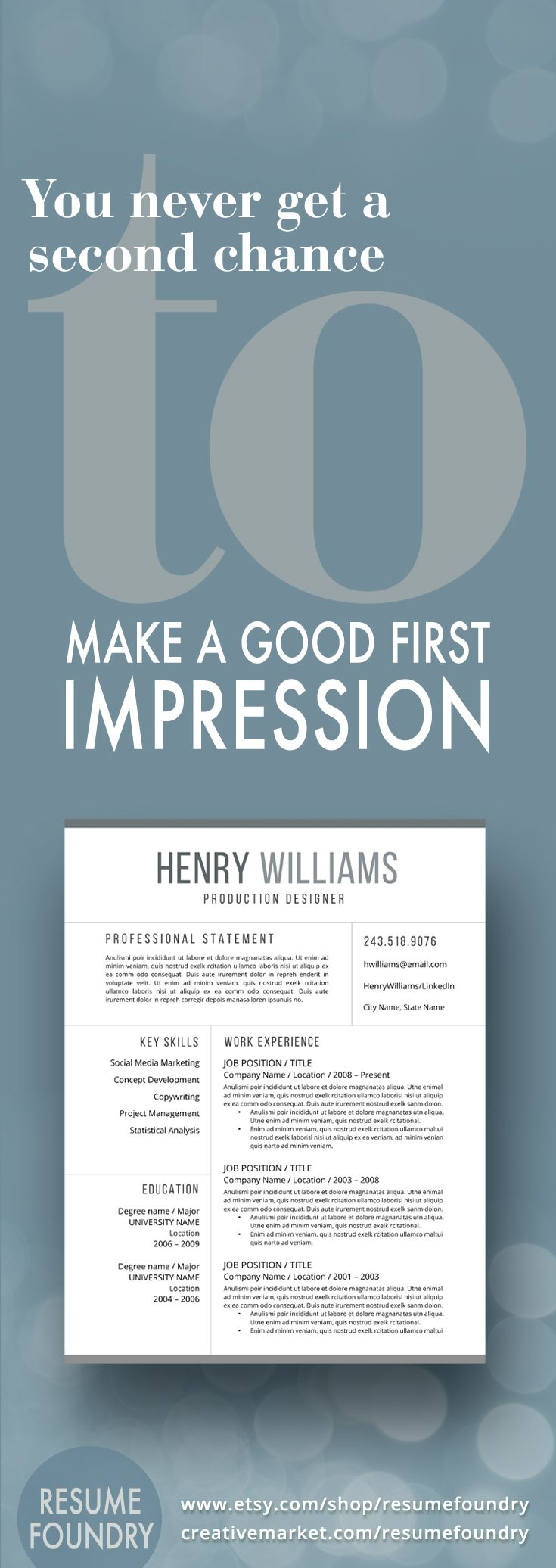 104 Best Resume Templates Etsy Images On Pinterest Resume