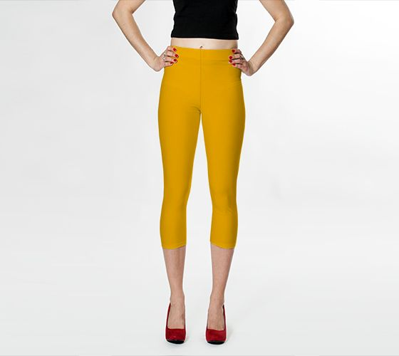 """DESIGN:  Simply Solids™ Collection + AggieLand Color Series • Capri Pants, Sizes XS-XL • SHOWN:  ARMY GOLD • The custom-developed, ultra-stretch, compression-fit, curve-smoothing fabric of these high-waist pants is cut and sewn by hand to your order.  Inseams of 21""""-22"""" bring the bottom hems to mid-calf for most sizes.   Never-fade, shape-holding, easy-care, breathable performance in 88% polyester & 12% spandex.  Ships in 6-10 days.  Also see our related Fine Leggings."""