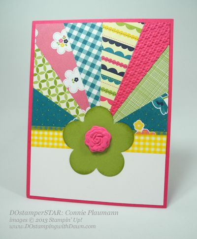 stampin up, dawn olchefske, dostamping, starburst, sunburst, card making, technique, video, Gingham Garden, Connie Plaumann