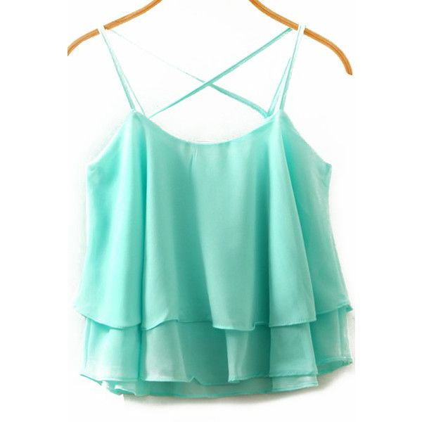 Spaghetti Strap Double Layels Chiffon Blue Cami Top (€7,95) found on Polyvore featuring tops, shirts, tank tops, tanks, camisolas, blue, chiffon top, blue tank top, blue vest and vest shirt