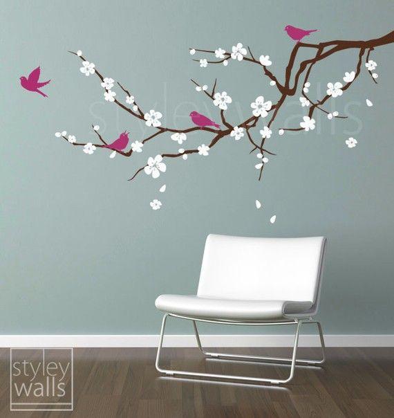 Etiqueta de la pared del rama de la flor de cerezo flor de