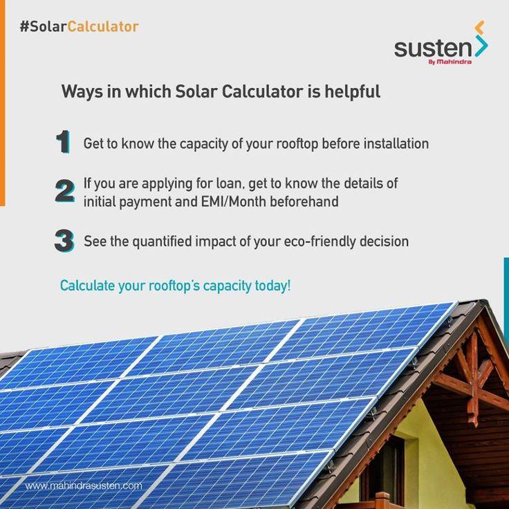 Solar Calculator Mahindra Susten Solar calculator