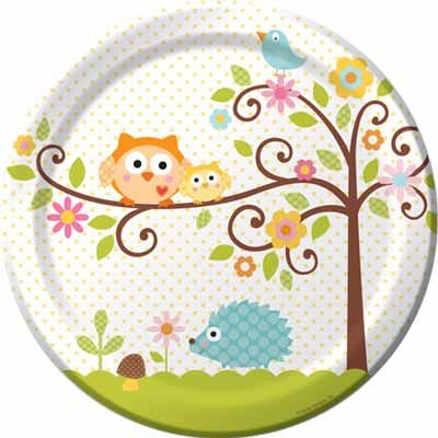 Owl Baby Shower with the Happi Tree pattern. Find plates, decorations and invitations.