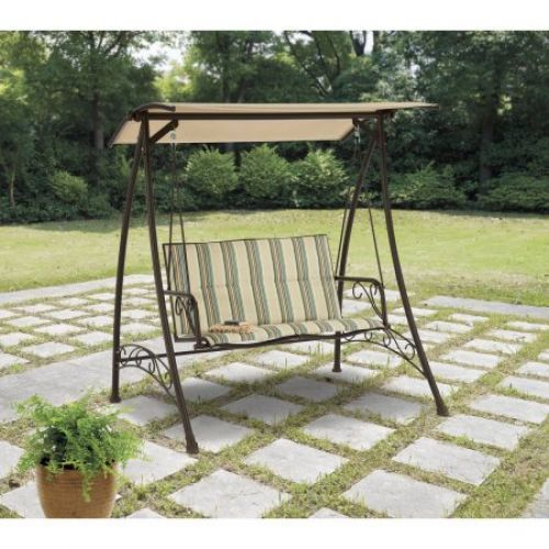 Details About Outdoor Porch Swing With Canopy Top Shade Patio Garden Steel  2 Seat Furniture