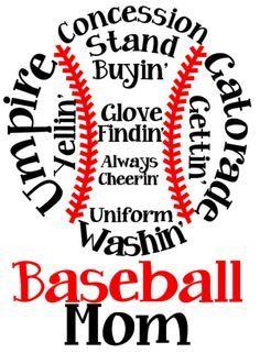 Baseball Mom t-shirt and hoodie design idea.  Great for high school spirit apparel.
