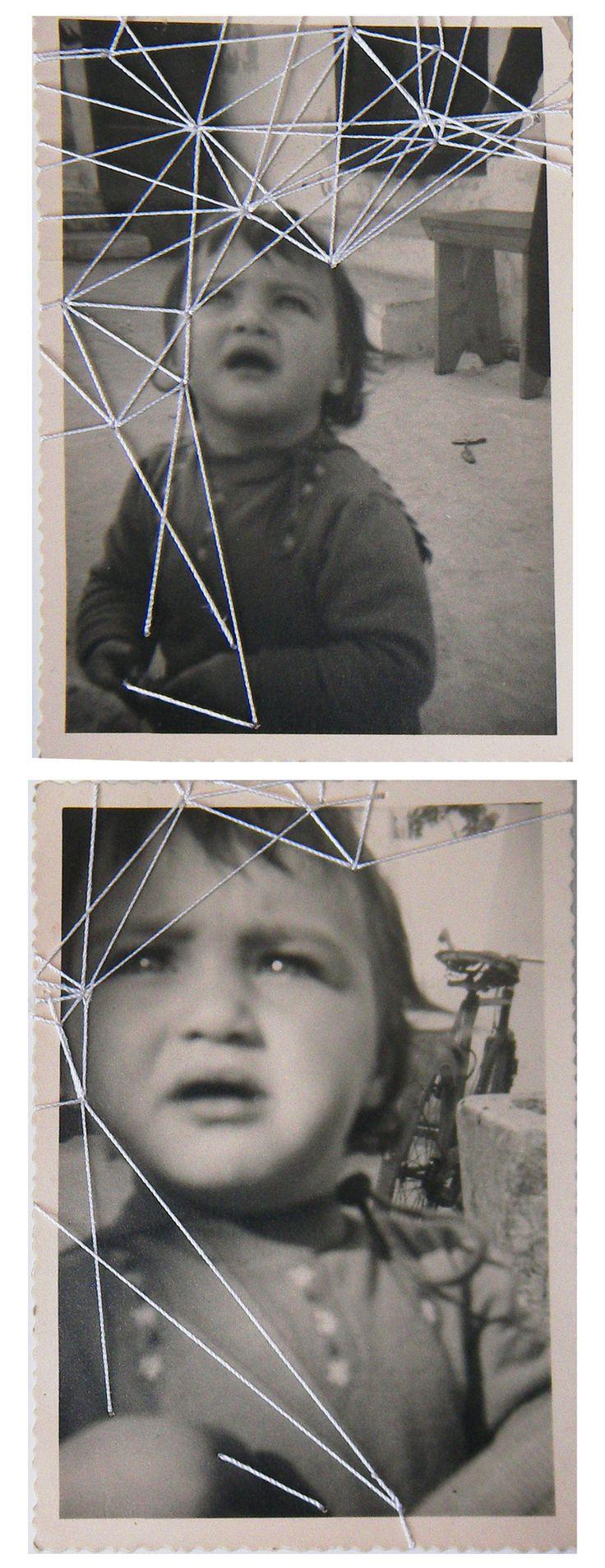 Rossana Taormina, Sequenza #1 (the kite), 2013 (filo di seta su vecchie foto) http://rossanataormina.tumblr.com/ contact: rossana.taormina@g...