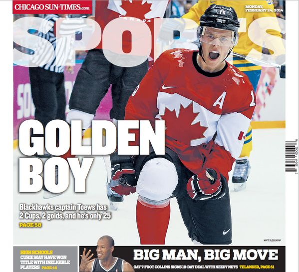 Sun Times Sports headline - J Toews