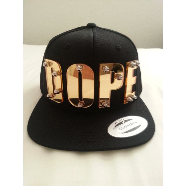 DOPE custom 3d gold mirrored acrylic snapback cap hat bolted ($30) ❤ liked on Polyvore featuring accessories, hats, acrylic hat, cap snapback, snapback cap, snap back caps and snapback hats