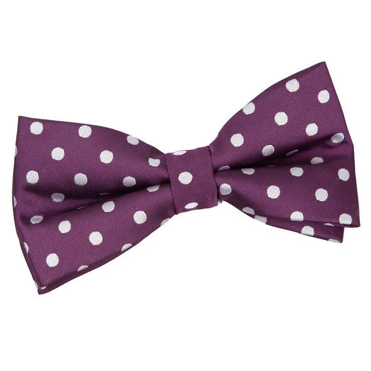 Men's Polka Dot Purple Bow Tie