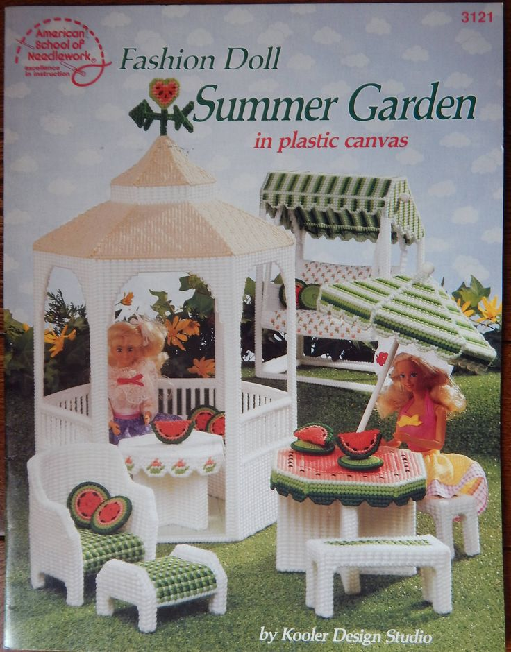 "Summer Garden Plastic Canvas Pattern For 11 1/2"" Fashion Doll/ American School Needlework 3121/ Gazebo Patio Outdoor Furniture/Slight Odor by RedWickerBasket on Etsy"