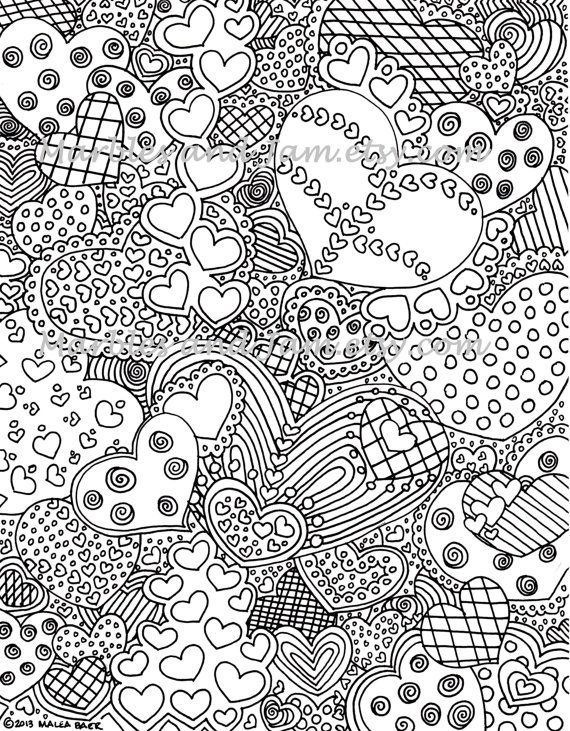 the hearts have it coloring page by marblesandjam on etsy - Hard Coloring Pages