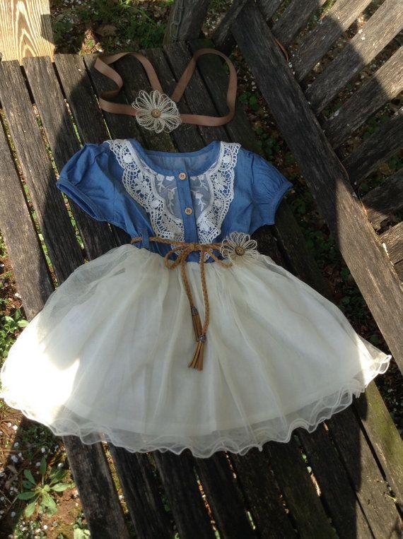 Country Barn Wedding Flower Girl Dress / Denim by DaisyDazeDesign