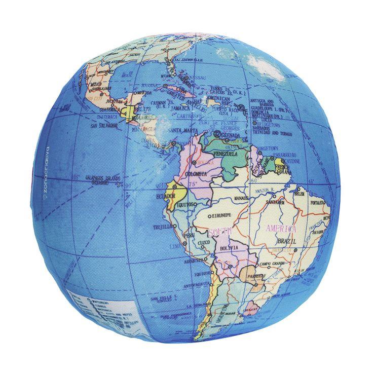 Almofada redonda mapa mundi - baherimports