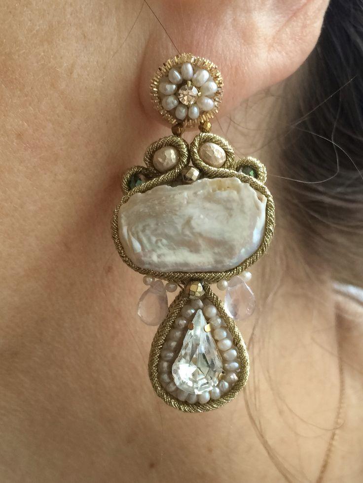 Pearl and Swarovski baroque earrings