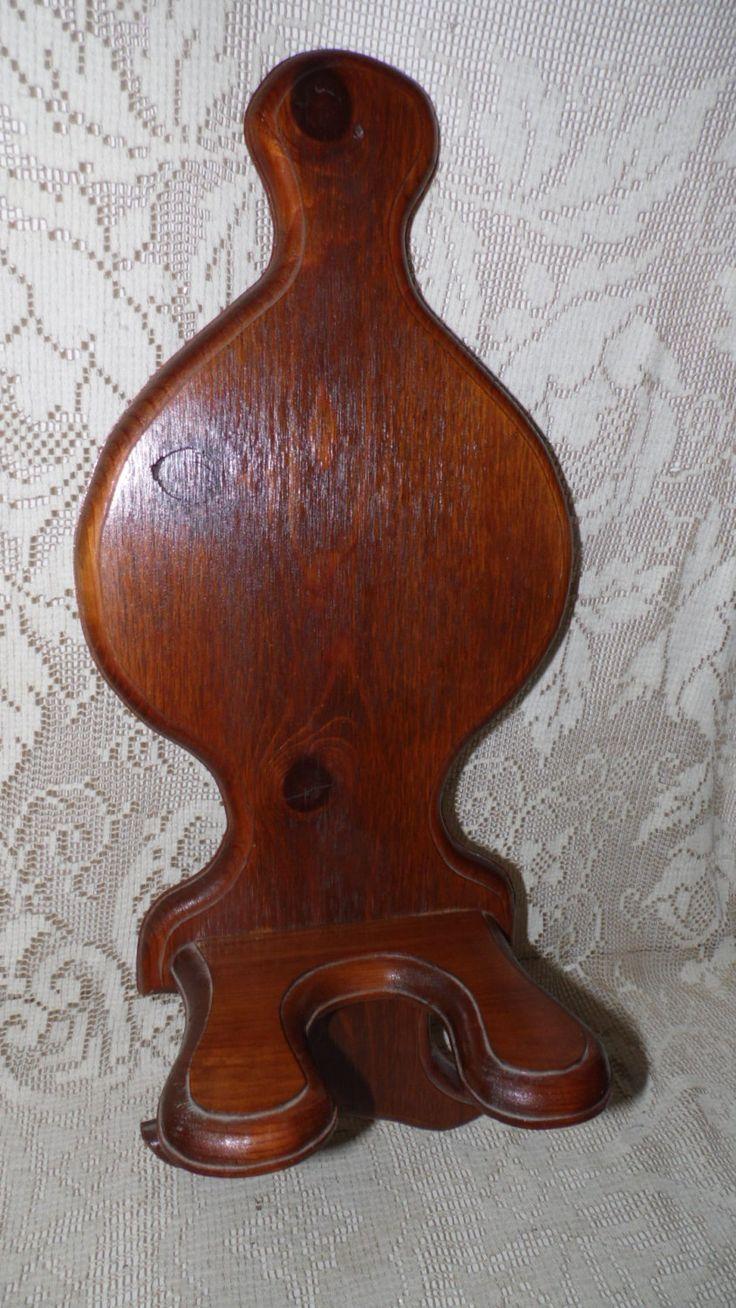 Vintage handcrafted oak wall wood oil lamp holder shelf for Wooden kerosene lamp holder