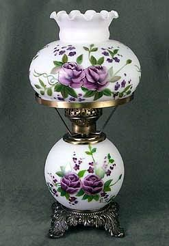 Vintage Student Desk Or Table Lamp With Hand Painted Lavender Roses.
