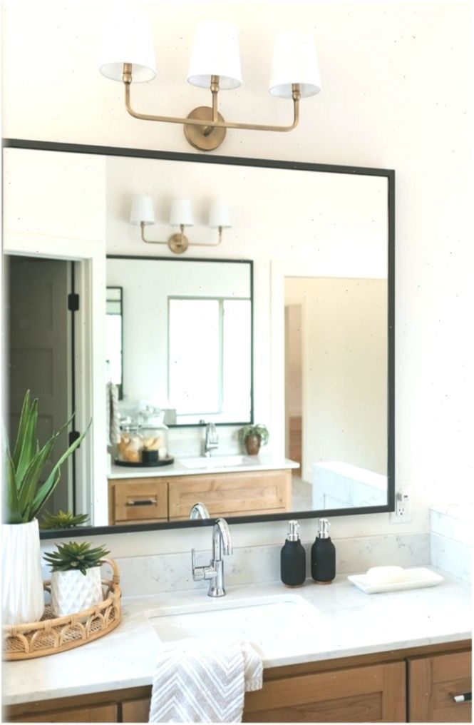 Bathroom Mirror Modern Farmhouse Bathroom Mirror With Thin Black Metal Frame Bat In 2020 Modern Farmhouse Bathroom Rustic Modern Bathroom Farmhouse Bathroom Mirrors