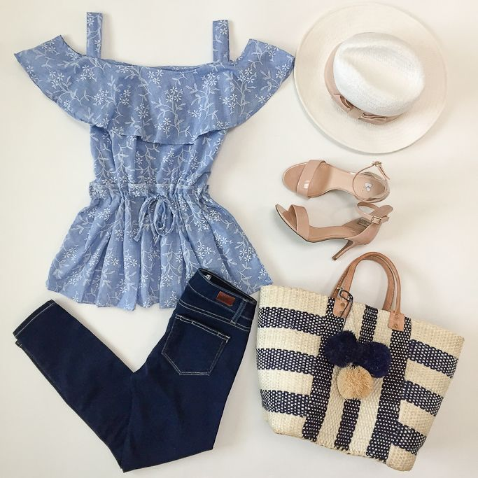 Off the shoulder top and denim