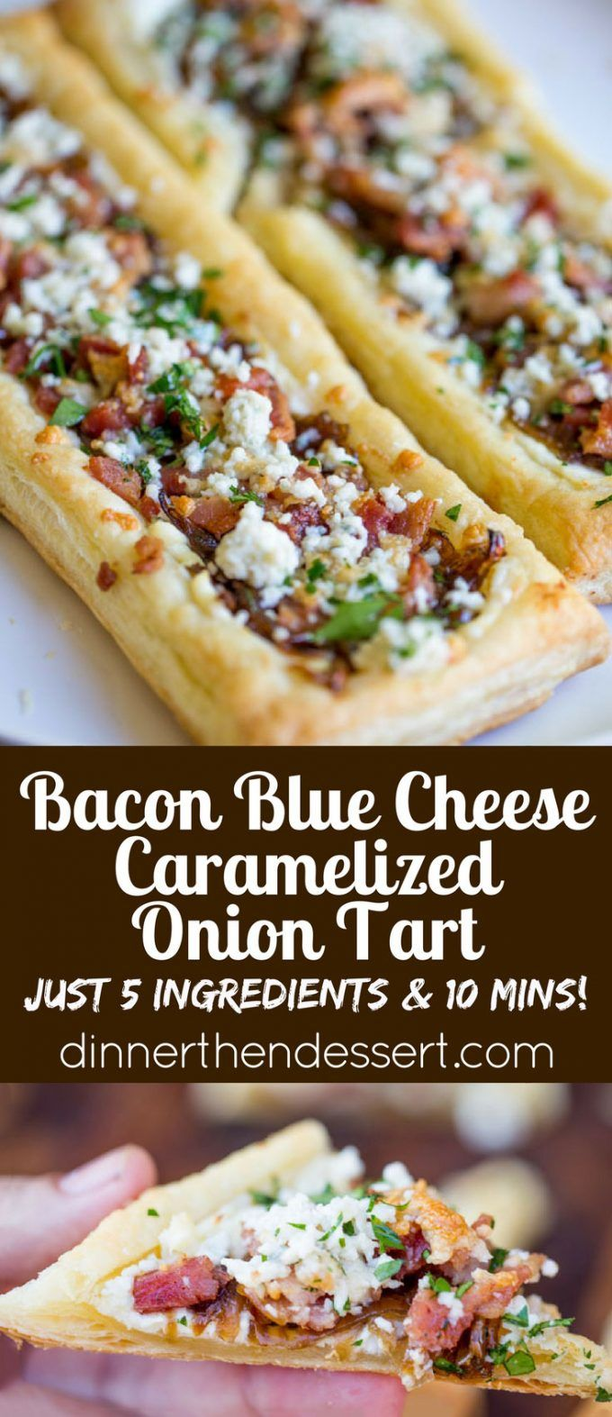 Bacon Blue Cheese Caramelized Onion Tart with just five ingredients total, it is the perfect easy appetizer for a party that can be prepped and frozen ahead of time so you can just bake right before your party!  TisTheSeasonsPromo  AD