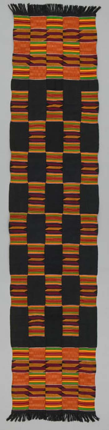 Africa | A Kente Shoulder Cloth from the Asante people of Ghana | ca. 1975 | 213cm x  44cm | Cotton