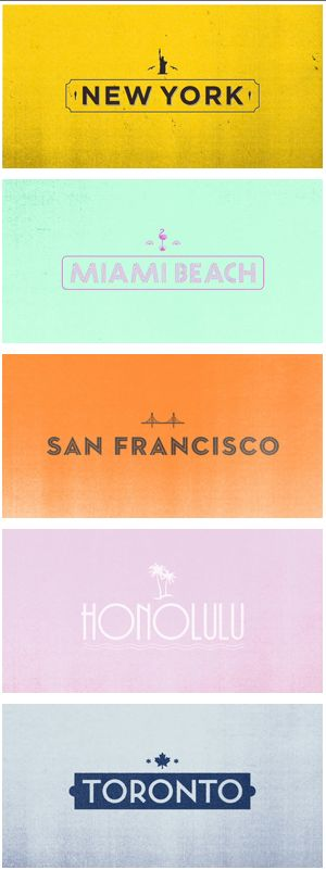 ✈ Location Posters for New York, Miami Beach, San Francisco, Honolulu, and Toronto ✈