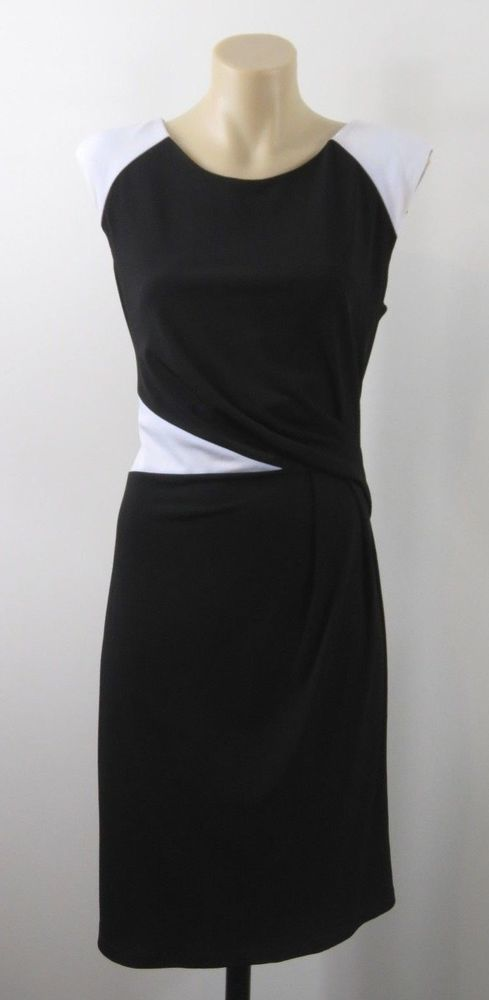 Size S 10 Jacqui E Ladies Black Dress Chic Cocktail Business Work Evening Design #JacquiE #PencilDress #Work
