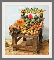 Code #35 - Counter of the fruit. inch (W. 7.9 x 6.3) tall 7.9  Precolored waxes. Banco della frutta. cm (20 x 16) altezza cm 20. Cere precolorate.
