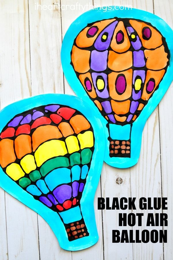 Beautiful watercolor and black glue hot air balloon craft, perfect for a spring kids craft, spring art project for kids and watercolor craft for kids.