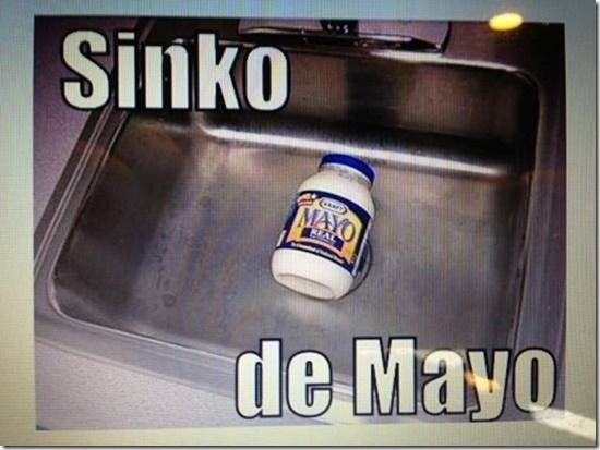 Sinko de Mayo: mayonnaise jar in the sink