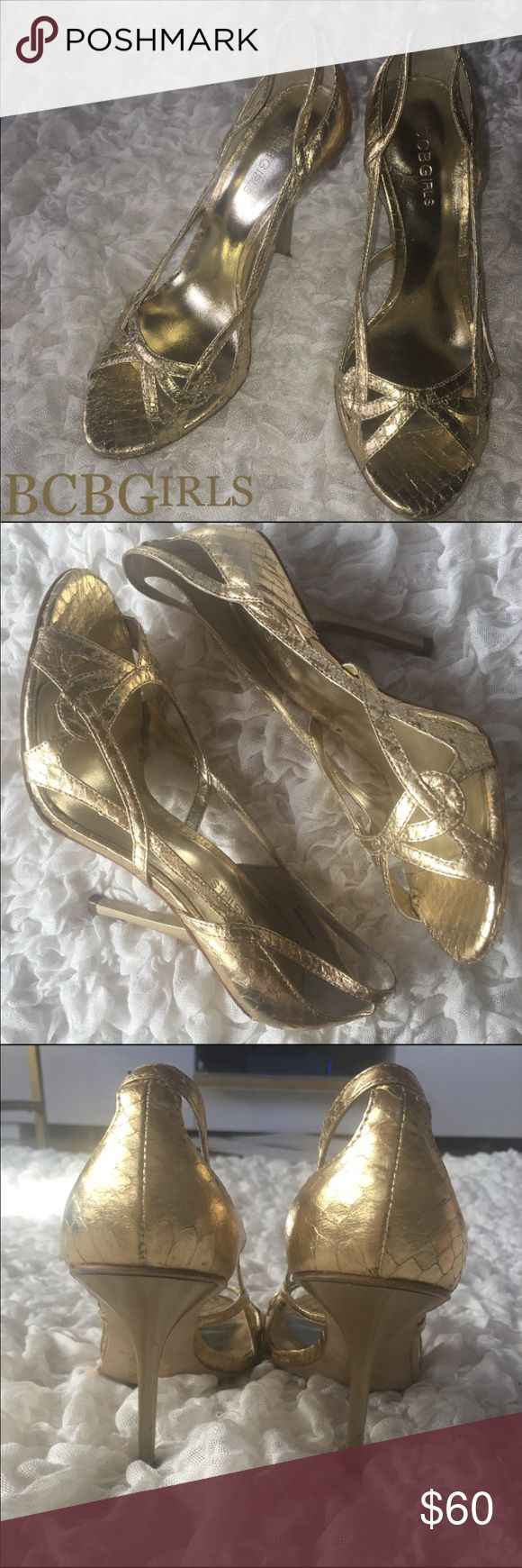"""BCBGIRLS Metallic Gold Sandal Heels 6.5 Metallic Gold Scale faux animal skin/ snake skin/ alligator skin leather. Peep toe Sandal Heels. Very classy, simple. Gorgeous. Dress up with a white or black gown or dress down with a pant suit!  Size 6.5 4"""" heel   Retail $89 Brisette #11 BCBGirls Shoes Heels"""