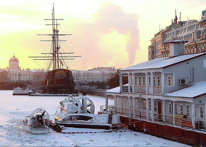Winter On The River by Mary Raven #MaryRaven #city #winter #ArtForHome #FainArtPrints