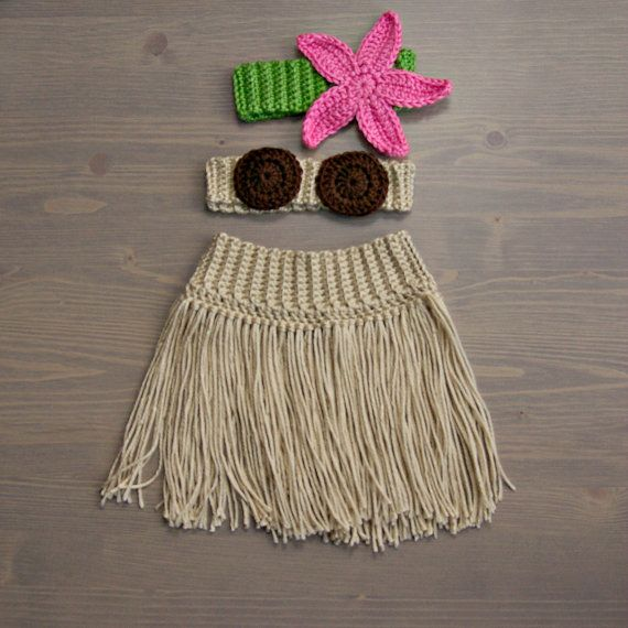 Crochet Hula Costume, Crocheted Baby Hat, Crochet Baby Hat, Crochet Set, Baby Shower Gift, Newborn Photography Prop, Baby from jackcosmo on Etsy