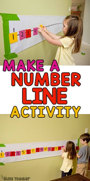 Post-It Number Line Math Activity for Preschoolers