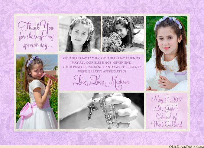Her beautiful First Holy Communion day – shared in 3-10 photos! This personalized Communion multi-photo collage thank you card was designed to suit your own taste, using any combination of colors, patterns and wording that you wish.