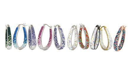 Graduated Crystal Hoop Earrings made with Swarovski ...