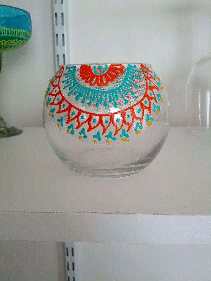 Beautiful Turquoise Orange Henna Designed Candle Holder - fall weddings, fall home decor! RusticNids