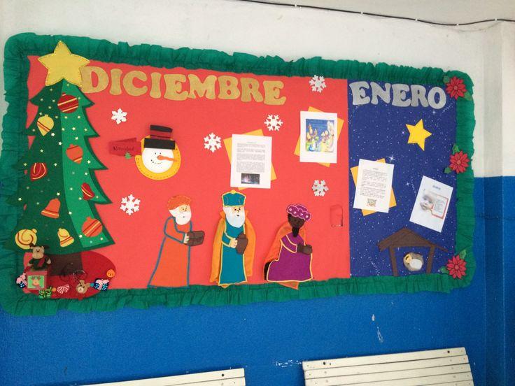 Periódico mural Diciembre-enero. Bulletin board needle felt. Feliz Navidad!