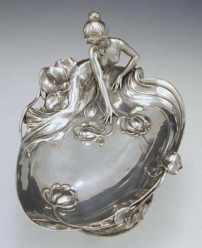Art Nouveau Polished Pewter Card Tray with Maiden, by WMF. 1906. Germany.