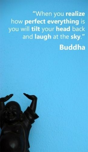 """When you realize how perfect everything is you will tilt your head back and laugh at the sky"" Buddha"