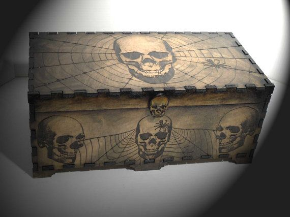 Lord Mock's Skull and Web Box by LordMockDesigns on Etsy, $70.00
