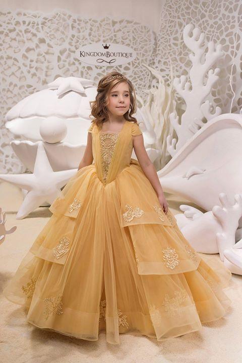 52c61934ebfe Flower girl dress 21-052 - kingdom.boutique | Ready to ship Size 4 | Flower  girl dresses, Belle dress, Kids gown