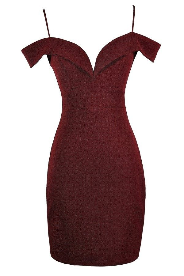 Poison Arrow Off Shoulder Fitted Bodycon Dress in Burgundy