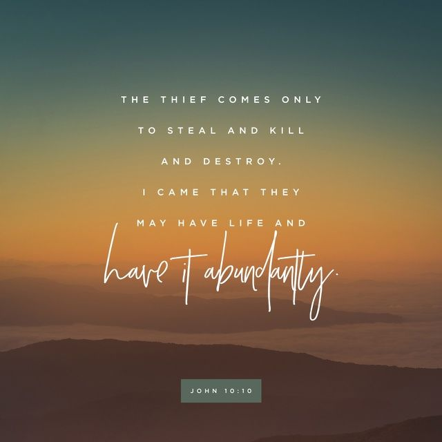 The thief cometh not, but for to steal, and to kill, and to destroy: I am come that they might have life, and that they might have it more abundantly.